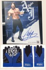 Aj Styles Hand Signed Picture & Gloves
